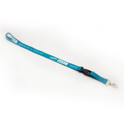 Cordon tour de cou bleu turquoise avec porte badge